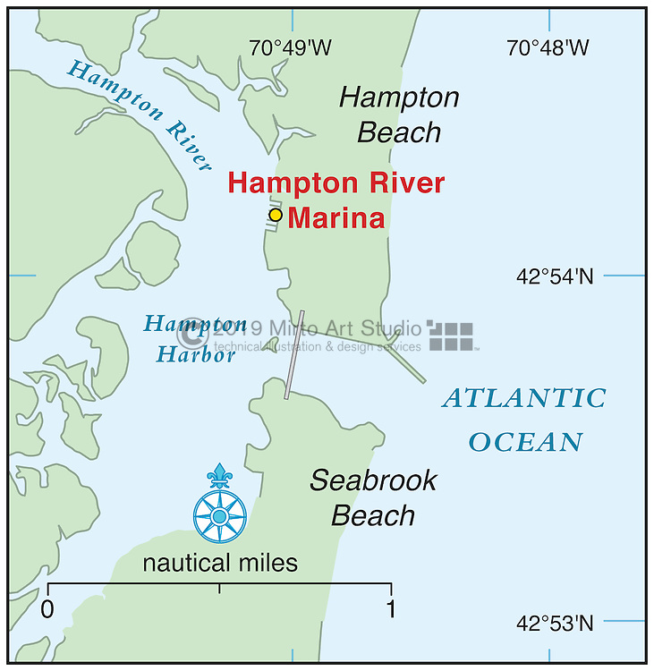 Vector map of Hampton Beach, New Hampshire marina