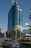 Mongolia. Ulaanbaatar. the skyscrapper of Ulaanbaatar bank, streets of  Ulan Baatar ULN - Mongolia