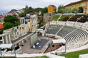 The Roman theatre of Plovdiv is one of the world's best-preserved ancient theatres, located in the city center of Plovdiv, Bulgaria. It was constructed in the 90s of the 1st century AD, probably under the rulership of Emperor Domitian. The theatre can host between 5000 and 7000 spectators and it is currently in use.