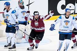 Lauris Darzins of Latvia celebrate goal during ice-hockey match between Latvia and Finland of Group D of IIHF 2011 World Championship Slovakia, on May 2, 2011 in Orange Arena, Bratislava, Slovakia. (Photo by Matic Klansek Velej / Sportida)