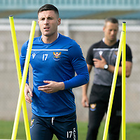 St Johnstone Training….<br />Michael O'Halloran pictured during training at McDiarmid Park ahead of Sunday's game against Rangers<br />Picture by Graeme Hart.<br />Copyright Perthshire Picture Agency<br />Tel: 01738 623350  Mobile: 07990 594431