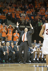 Virginia head coach Dave Leitao fires up his team in action against Arizona.  UVA defeated the #10 ranked Wildcats 93-90 in the first game at the new John Paul Jones Arena, in Charlottesville, VA on November 12, 2006...