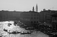 Italy. Venice elevated view. the Grand Canal, Grand Canal.  Venice - Italy  view from CA D ORO palace on the Grand Canal. / le grand canal   Venise - Italie vue depuis la CA D ORO palais de style gothique, le long du grand canal