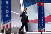 Donald Trump, Jr. son of Donald Trump and his first wife Ivana Trump waves as he walks onstage to address the second day of the Republican National Convention July 19, 2016 in Cleveland, Ohio. Earlier in the day the delegates formally nominated Donald J. Trump for president.