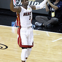 17 June 2012: Miami Heat shooting guard Dwyane Wade (3) salutes the fans during the Miami Heat 91-85 victory over the Oklahoma City Thunder, in Game 3 of the 2012 NBA Finals, at the AmericanAirlinesArena, Miami, Florida, USA.