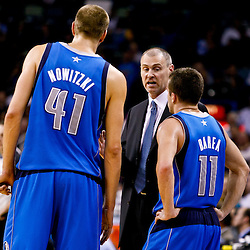 November 17, 2010; New Orleans, LA, USA; Dallas Mavericks head coach Rick Carlisle talks with Dirk Nowitzki of Germany and Jose Juan Barea during a game against the New Orleans Hornets at the New Orleans Arena. The Hornets defeated the Mavericks 99-97. Mandatory Credit: Derick E. Hingle