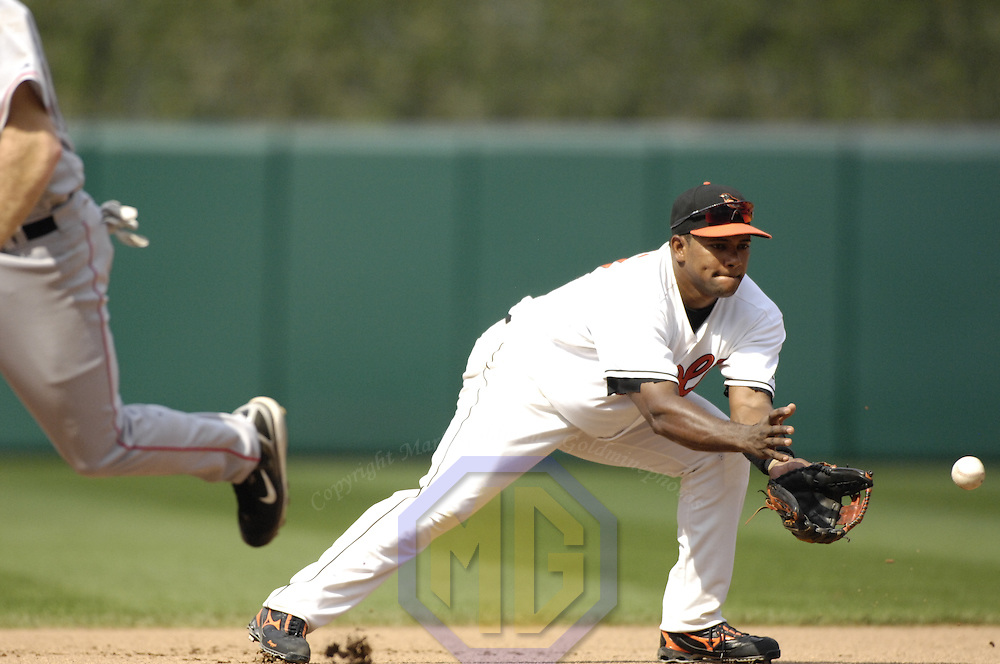 12 August 2007:  Baltimore Orioles shortstop Miguel Tejada (10) in action against the Boston Red Sox.  The Orioles defeated the Red Sox 6-3 in ten innings on a walk off home run by Kevin Millar at Camden Yards in Baltimore, MD.   ****For Editorial Use Only****