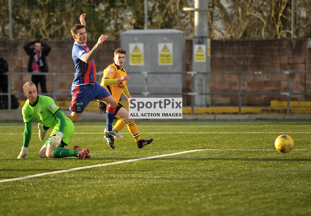 Josh Todd (Annan Athletic, amber &amp; black) scores the first goal<br /> <br /> Annan Athletic v Elgin City, SPFL League 2, 30th January 2016<br /> <br /> (c) Alex Todd | SportPix.org.uk
