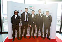 LIVERPOOL, ENGLAND - Thursday, May 12, 2016: Liverpool's Joe Allen, goalkeeper Danny Ward, James Milner, captain Jordan Henderson and Connor Randall arrive on the red carpet for the Liverpool FC Players' Awards Dinner 2016 at the Liverpool Arena. (Pic by David Rawcliffe/Propaganda)