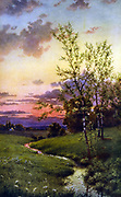 Nature's Harmony' c1912.  After Thomas Moran (1837-1926) English-born American artist. Landscape Pastoral Tree Meadow Stream Sunset Tranquillity
