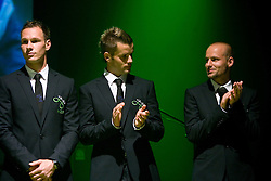 Dejan Kelhar, Elvedin Dzinic and Miso Brecko at official presentation of Slovenian National Football team for World Cup 2010 South Africa, on May 21, 2010 in Congress Center Brdo at Kranj, Slovenia. (Photo by Vid Ponikvar / Sportida)