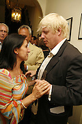 MARINA JOHNSON AND BORIS JOHNSON, The Spectator At Home. Doughty St. 6 July 2006. ONE TIME USE ONLY - DO NOT ARCHIVE  © Copyright Photograph by Dafydd Jones 66 Stockwell Park Rd. London SW9 0DA Tel 020 7733 0108 www.dafjones.com
