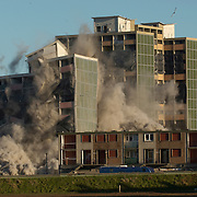 Edinburgh, Oxgang Area, 26th November 2006, controlled demolition by use of explosive of an high rise empty building.&#xA;Full series of approx 20 shots available<br />