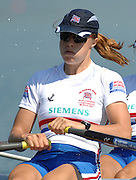 Munich, GERMANY,  GBR W2X, Bow, Elise LAVERICK and Anna BEBINGTON,  Sunday 26.08.2007, opening day on the  Munich Olympic Regatta Course, venue for 2007 World Rowing Championship, Bavaria. [Mandatory Credit. Peter Spurrier/Intersport Images]..... , Rowing Course, Olympic Regatta Rowing Course, Munich, GERMANY