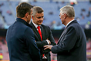 Sir Alex Ferguson with Manchester United Manager Ole Gunnar Solskjaer and Gary Neville during the Champions League quarter-final leg 2 of 2 match between Barcelona and Manchester United at Camp Nou, Barcelona, Spain on 16 April 2019.