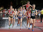 Maddie Van Beek (539), Allie Ostrander (72) of Boise State, Marie Bouchard (395) of San Francisco and Grayson Murphy (554) of Utah race over the water jump in the women's steeplechase in the Stanford Invitational in Stanford, Calif., Friday, Mar 30, 2018. Ostrander won in 9:38,57. Bouchard was second in 9:47.03 and Murphy was third in 9:51.36. (Gerome Wright/Image of Sport)