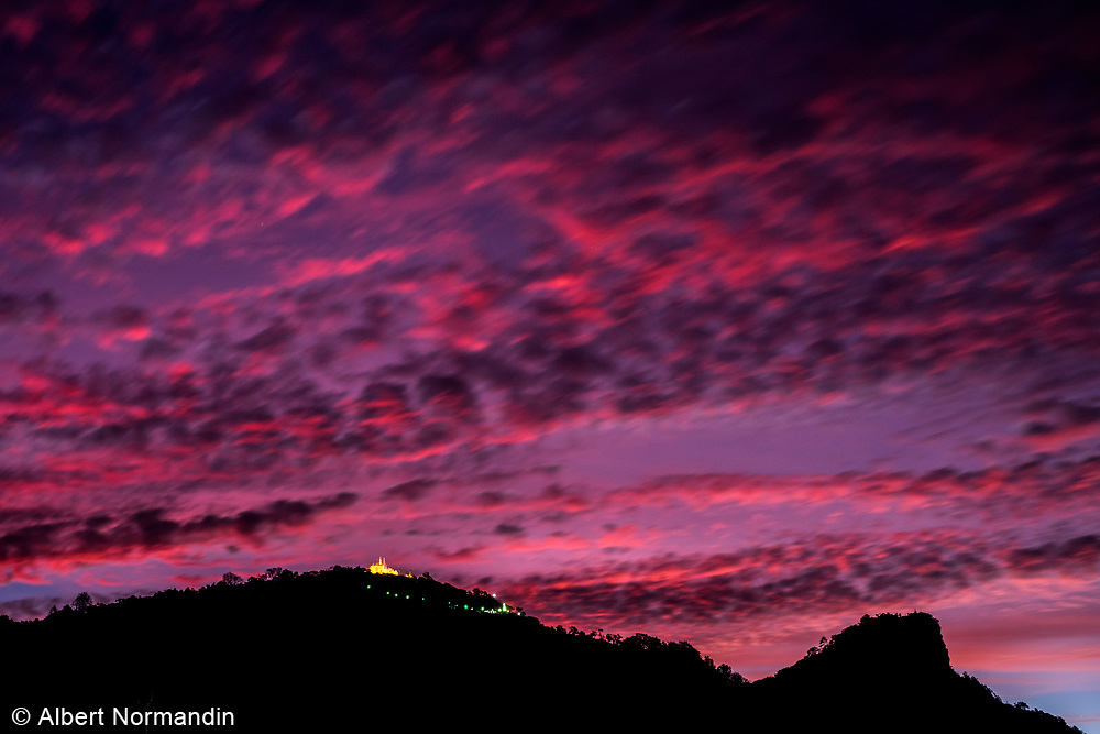 Sunrise over the mountains of Taunggyi, Myanmar