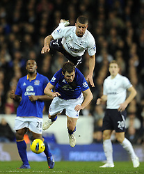 11.01.2012, White Hart Lane Stadion, London, ENG, PL, Tottenham Hotspur vs FC Everton, Nachtragsspiel, im Bild Everton's Diniyar Bilyaletdinov in action against Tottenham Hotspur's Kyle Walker during the football match of English premier league, resentful game, between Tottenham Hotspur and FC Everton at White Hart Lane Stadium, London, United Kingdom on 2012/01/11. EXPA Pictures © 2012, PhotoCredit: EXPA/ Propagandaphoto/ Chris Brunskill..***** ATTENTION - OUT OF ENG, GBR, UK *****