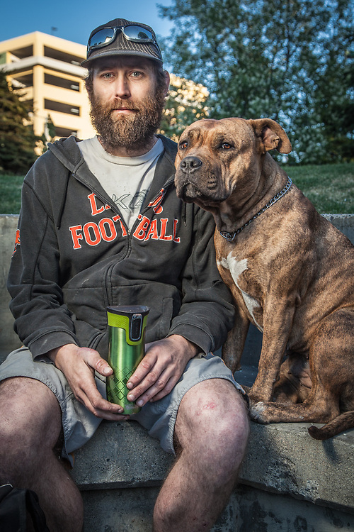 Dave Nicholls and his dog, Mabel, Town Square, Anchorage