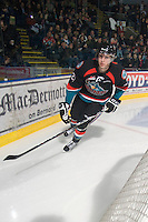 KELOWNA, CANADA, NOVEMBER 25: Tanner Moar #23 of the Kelowna Rockets skates behind the net as the Kootenay Ice visit the Kelowna Rockets  on November 25, 2011 at Prospera Place in Kelowna, British Columbia, Canada (Photo by Marissa Baecker/Shoot the Breeze) *** Local Caption *** Tanner Moar;