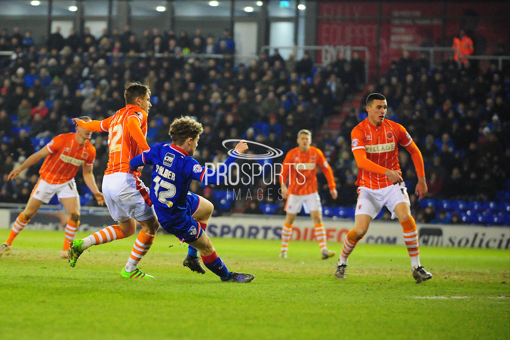 GOAL! Matt Palmer of Oldham Athletic (On loan from Burton Albion) makes it 1-0 during the Sky Bet League 1 match between Oldham Athletic and Blackpool at SportsDirect.Com Park, Oldham, England on 15 March 2016. Photo by Mike Sheridan.