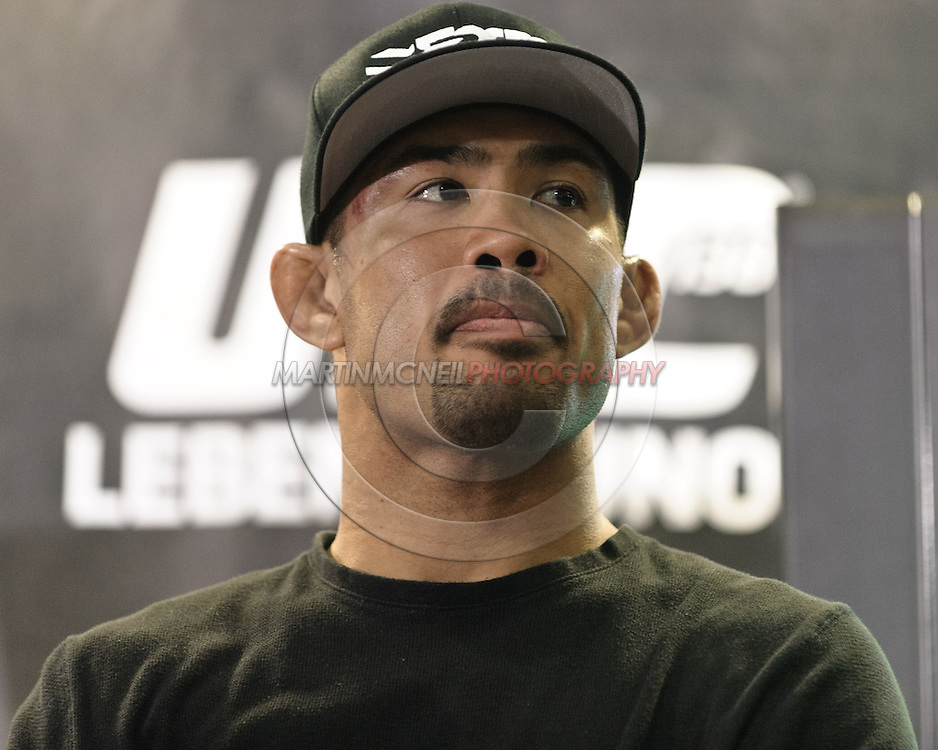 BIRMINGHAM, ENGLAND, NOVEMBER 5, 2011: Middleweight fighter Mark Munoz is pictured during the post-fight press conference for UFC 138 inside the LG Arena on November 5, 2011.