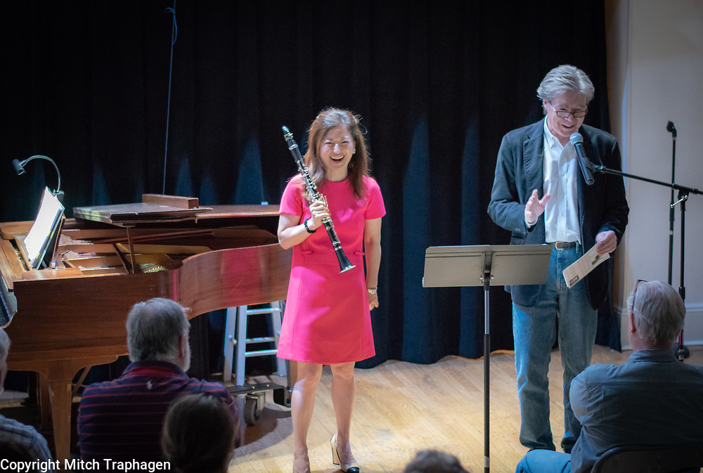 """Seunghee """"Sunny"""" Lee performing live at the cell theatre in Manhattan, New York City, with pianist Evan Solomon. A Charles R. Hale Production. May 16, 2018."""