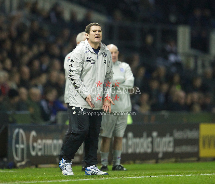 DERBY, ENGLAND - Saturday, January 5, 2013: Derby County's manager Nigel Clough during the FA Cup 3rd Round match against Tranmere Rovers at Pride Park. (Pic by David Rawcliffe/Propaganda)