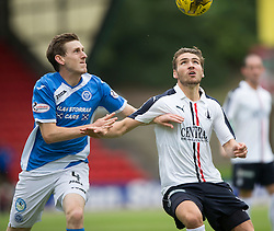 St Johnstone's Blair Alston and Falkirk's Luke Leahy. St Johnstone 3 v 0 Falkirk, Group B, Betfred Cup, played 23/7/2016 at St Johnstone's home ground, McDiarmid Park.