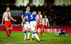 STEVENAGE, ENGLAND - Saturday, January 25, 2014: Everton's John Heitinga scores the third goal against Stevenage during the FA Cup 4th Round match at Broadhall Way. (Pic by Tom Hevezi/Propaganda)