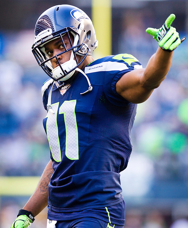 Wide Receiver Percy Harvin #11 of the Seattle Seahawks during pre
