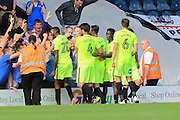 Gwien Edwards celebrates 3-2 Peterborough during the EFL Sky Bet League 1 match between Rochdale and Peterborough United at Spotland, Rochdale, England on 6 August 2016. Photo by Daniel Youngs.