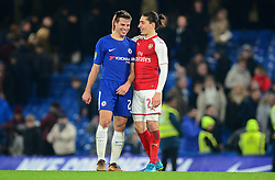 Cesar Azpilicueta of Chelsea shares a moment with Hector Bellerin of Arsenal at full time. - Mandatory by-line: Alex James/JMP - 10/01/2018 - FOOTBALL - Stamford Bridge - London, England - Chelsea v Arsenal - Carabao Cup semi-final first leg