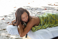 A guest gets ready for a massage at the beach, Latitude 10 Resort, Santa Teresa, Costa Rica