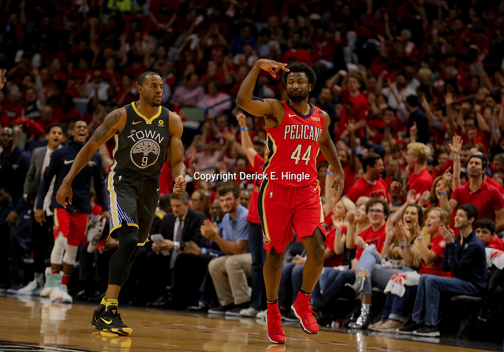 May 4, 2018; New Orleans, LA, USA; New Orleans Pelicans forward Solomon Hill (44) reacts after hitting a three point basket against Golden State Warriors forward Andre Iguodala (9) during the first quarter in game three of the second round of the 2018 NBA Playoffs at Smoothie King Center. Mandatory Credit: Derick E. Hingle-USA TODAY Sports
