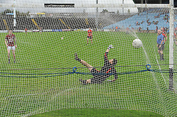 Balla&rsquo;s Gary McHale scores from the penalty spot during the Mayo junior semi final.<br /> Pic Conor McKeown