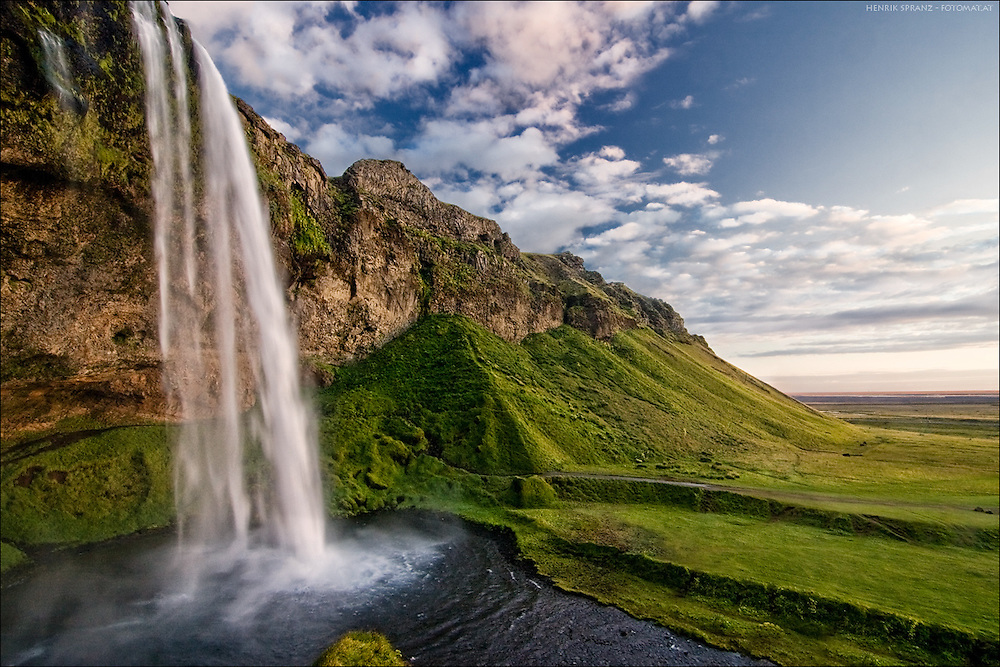 The Seljalandsfoss in southern Iceland - a wonderful place.<br /> It was my second day on Iceland and I've waited for all the tourist buses to leave - and experienced this great evening light there.