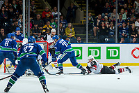 KELOWNA, BC - SEPTEMBER 29:  Jason Demers #55 of the Arizona Coyotes blocks the rebound on shot by Nikolay Goldobin #77 of the Vancouver Canucks at Prospera Place on September 29, 2018 in Kelowna, Canada. (Photo by Marissa Baecker/NHLI via Getty Images)  *** Local Caption *** Nikolay Goldobin;Jason Demers