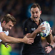 Israel Dagg, New Zealand, is tackled by Vincent Clerc, France, during the New Zealand V France Final at the IRB Rugby World Cup tournament, Eden Park, Auckland, New Zealand. 23rd October 2011. Photo Tim Clayton...