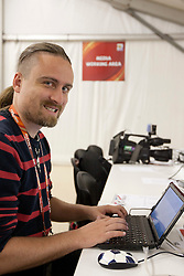 Journalist Rok Plestenjak of Siol Sportal  in Media centre prior to the 2010 FIFA World Cup South Africa Group H Second Round match between Spain and Honduras on June 21, 2010 at Ellis Park Stadium, Johannesburg, South Africa.   (Photo by Vid Ponikvar / Sportida)