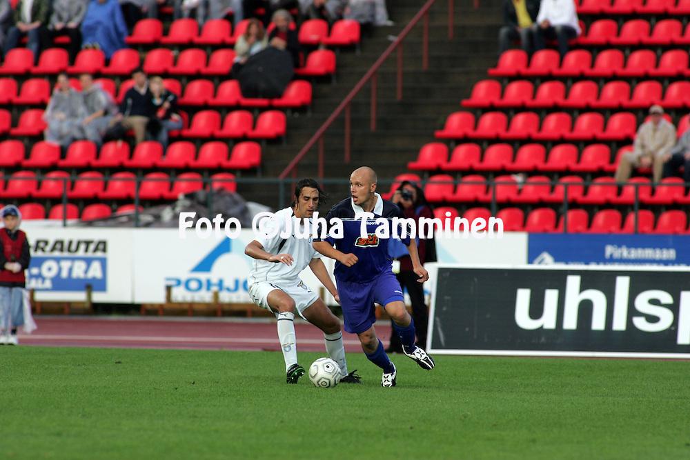 23.07.2005, Ratina, Tampere, Finland..UEFA Intertoto Cup, 3rd round, 2nd leg match.Tampere United v S.S. Lazio.Ville Lehtinen (TamU) v Matias Lequi (Lazio).©Juha Tamminen.....ARK:k