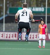 AMSTELVEEN - Teun Rohof (A'dam) voor  de hoofdklasse hockeywedstrijd AMSTERDAM-ORANJE ROOD (4-5).  COPYRIGHT KOEN SUYK