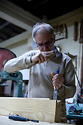 Jeroni, Reus, Rotger, artisanal carpenter and woodworker in his workshop in Caimari, Mallorca.