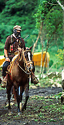 GUADALUPE TEPEYAC, CHIAPAS, MEXICO: Sub-Commandte Marcos, leader of the Zapatista guerillas rides through the Zapatista's headquarters in Guadalupe Tepeyac, Chiapas, Mexico. PHOTO © JACK KURTZ   WAR  ZAPATISTAS  INDIGENOUS   HUMAN RIGHTS  MILITARY   PERSONALITIES (MARCOS)