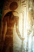 Thoth, Ibis-headed god of the Moon holding wand, patron of scribes and magicians, secretary of the gods.  Wall painting from Temple of Rameses II, Abu Simbel, Egypt.