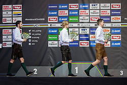 Podium during the Men Under 23 Road Race a 179.9km Race from Kufstein to Innsbruck at 582m at the 91st UCI Road World Championships 2018 / RR / RWC / on September 28, 2018 in Innsbruck, Austria. Photo by Vid Ponikvar / Sportida