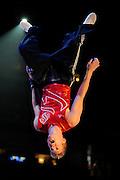 Sep 21, 2008; San Jose, CA, USA; Justin Spring performs on the floor during the 2008 Tour of Gymnastics Superstars post-Beijing Olympic tour at HP Pavilion. Mandatory Credit: Kyle Terada-Terada Photo