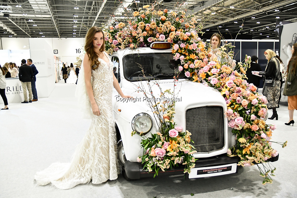 Kahley van der Bliek an Dutch Model the 1st Runner-up of Miss Teen of Drenthe 2018 Modelling at London Bridal Fashion Week at London Excel on 25 March 2019, UK.