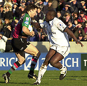 Parker Pen Challenge Cup 14/01/2004 Harlequins v Brive.1st leg...Quins's Chris Bell [left] and Emmanuel Amapakalo   [Mandatory Credit, Peter Spurier/ Intersport Images].