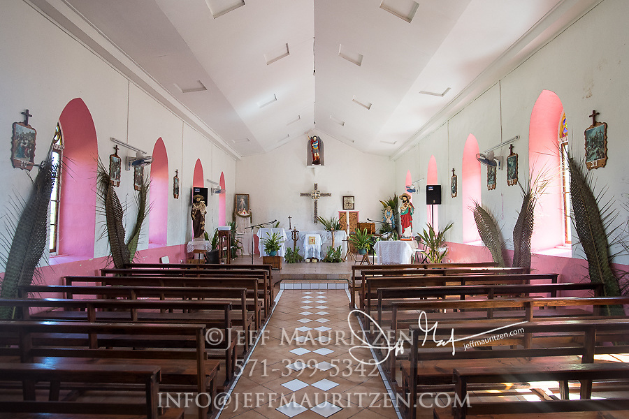 The inside of a church on Raroia or Raro-nuku atoll in the Tuamotus island chain.